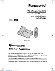 Panasonic BBGT1540 - GLOBARANGE CORDLESS PHONE Operating Instructions Manual