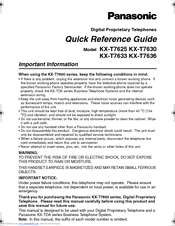 Panasonic Kx T7630 B Manuals Manualslib