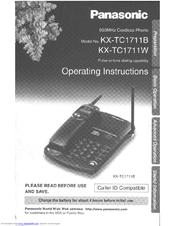 Panasonic KX-TC1711B - 900 MHz Cordless Phone Manuals