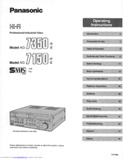 Panasonic AG-7350 Operating Instructions Manual