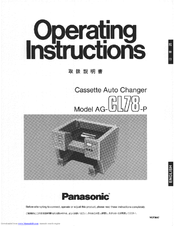Panasonic AGCL78P - CASSETTE AUTO CHANGER Operating Instructions Manual