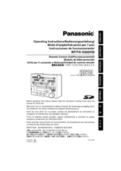 Panasonic AJRC10G - REMOTE CONTROL UNIT Operating Instructions Manual