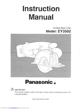 Panasonic EY3502USA - CORDLESS CUTTER Instruction Manual
