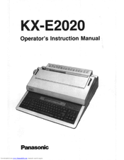 panasonic kx e2020 operator s instruction manual pdf download rh manualslib com Panasonic Typewriter Kxr Panasonic Typewriter KX E-4020