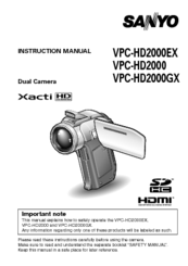 Sanyo HD2000 - LCD Projector - 7000 ANSI Lumens Instruction Manual