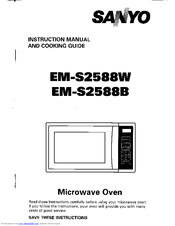 sanyo em s2588w b instruction manual and cooking manual pdf download rh manualslib com