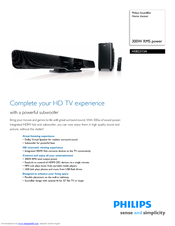 philips hsb2313a manuals rh manualslib com Philips Soundbar DVD Philips Soundbar with Subwoofer Manual