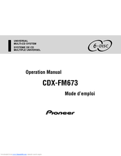 Pioneer CDX-FM673 Operation Manual