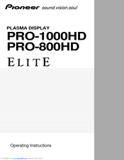 Pioneer Elite PRO-800HD Operating Instructions Manual