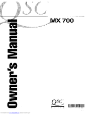 QSC MX-700 OWNER'S MANUAL Pdf Download. on
