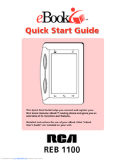 RCA Gemstar eBook REB1100 Quick Start Manual