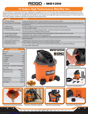 Ridgid WD1250 Specifications