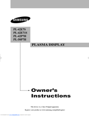 Samsung PL-42E7S Owner's Instructions Manual