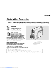 Samsung VP-D365W Owner's Instruction Book