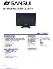 sansui hdlcd1912 manuals rh manualslib com Sansui 5000A Schematic Sansui Television Manual 076R0lj030