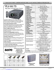 Sanyo PLV-75 Series Specification Sheet