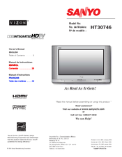 Sanyo HT30746 Owner's Manual