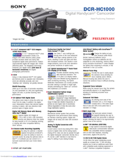 Sony DCR-HC1000 - Digital Handycam Camcorder Specifications