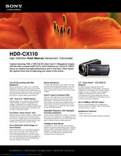 Sony HDR-CX110 - High Definition Flash Memory Handycam Camcorder Specifications