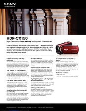 Sony HANDYCAM HDR-CX150 Specifications