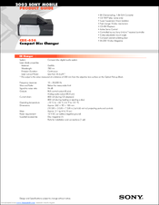 Sony CDX-656 - Compact Disc Changer System Product Manual
