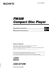 sony cdx gtw fm am compact disc player manuals sony cdx gt10w fm am compact disc player operating instructions manual