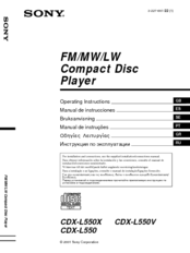 we have 11 sony cdx-l550x - fm/am compact disc player manuals available for  free pdf download: operating instructions manual,