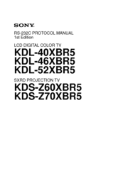 SONY BRAVIA KDL-40XBR5 REFERENCE MANUAL Pdf Download