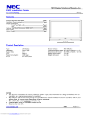NEC E422-R Installation Manual