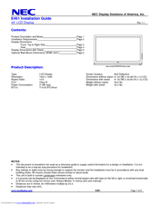 NEC E461-R Installation Manual
