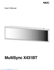 NEC MultiSync X431BT User Manual