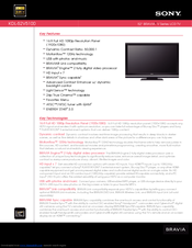 sony bravia kdl 52v5100 manuals rh manualslib com Sony KDL 52XBR9 Recalls sony kdl-52v5100 user manual