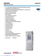 sony icd st10 icd recorder manuals rh manualslib com IC Sony Recorder ICD -B500 Manual Sony ICD -PX333 Digital Voice Recorder