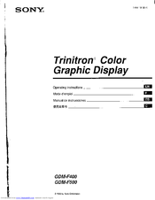 Sony trinitron gdm f500 manuals sony trinitron gdm f500 operating instructions manual 20 pages trinitron color graphic display sciox Image collections