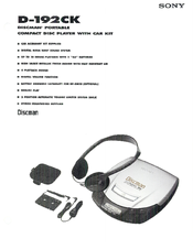 Sony Walkman D-192CK Specification Sheet