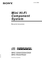 Sony MHC-RG22 System Manual