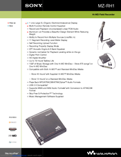Sony Hi-MD WALKMAN MZ-RH1 Specifications