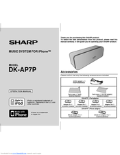 Sharp DK-AP7P - Portable Speakers With Digital Player Dock Operation Manual