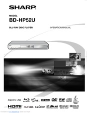 Sharp BD HP52U - AQUOS 1080P Blu-ray Disc Player Operation Manual
