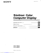 Sony Trinitron CPD-100GS Operating Instructions Manual