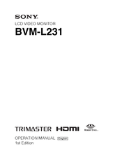 Sony Trimaster BVM-L231 Operation Manual