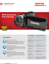 Toshiba Camileo x200 Specifications