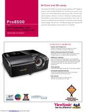 Viewsonic PRO8500 Specification Sheet