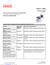 voluntary product accessibility template section 508 - xerox phaser 4500 manuals