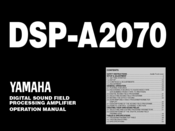 Yamaha DSP-A2070 Operation Manual