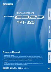 YAMAHA PSR-E323 OWNER'S MANUAL Pdf Download