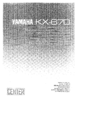 Yamaha KX-670 Owner's Manual