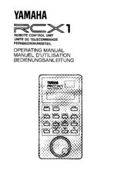 Yamaha RCX1 Operating Manual