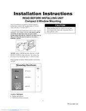 Frigidaire 000 BTU Air-Conditioner Installation Instructions Manual