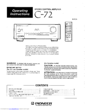 Pioneer 311R Operating Instructions Manual
